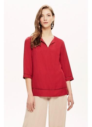 NaraMaxx Şerit Akasesuarlı Bluz Kırmızı